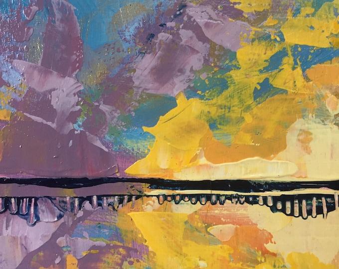 3x3 Beach Wall Art Small Painting Coastal Sunset Abstract Beach Art Small Painting Purple Yellow Gold Original Ocean Reflection Modern Art