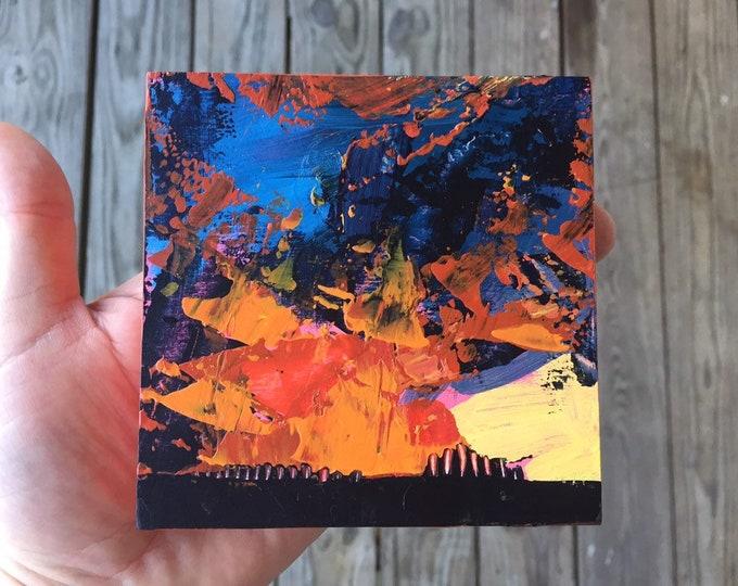 4x4 Painting Red and Yellow Abstract Landscape Sunset Abstract 4x4 Painting Original Art Miniature Painting Affordable Small Orange Sunset