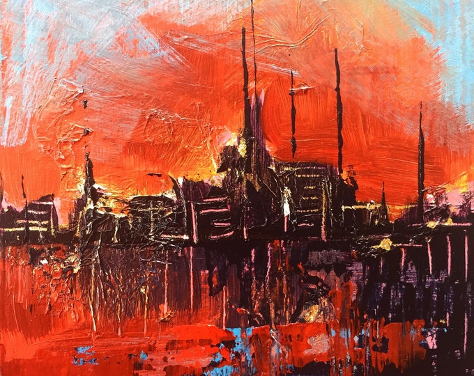 """3""""x 3"""" Abstract Landscape on Wood Panel"""