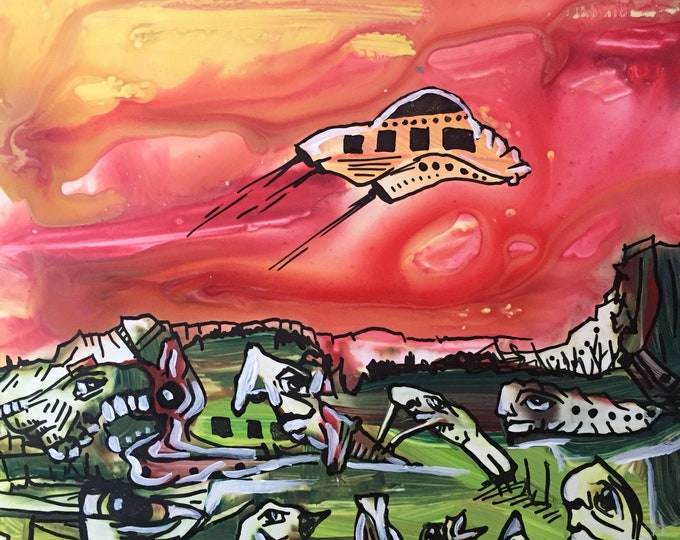 Red Space Ship Sci Fi Pop Surrealism Weird Art Psychedelic Painting Pareidolia Trippy Art College Art Surreal Paint Whimsical Art Lowbrow