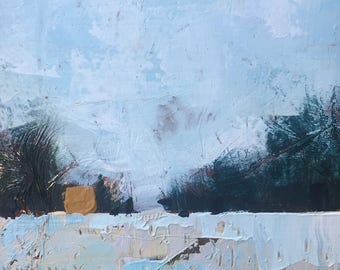 "5""x 5"" Abstract Winter Landscape on Wood Panel 1"