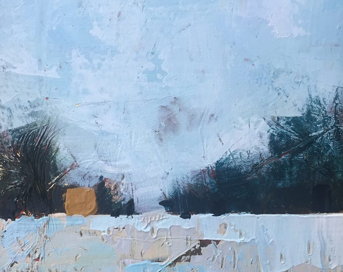 """5""""x 5"""" Abstract Winter Landscape on Wood Panel 1"""