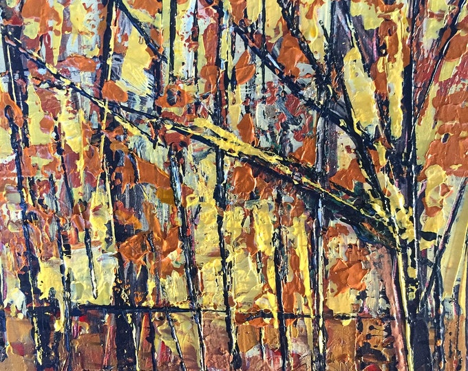 Autumn Forest Abstract Landscape Gold and Orange Trees Autumn Abstract 3x3 Small Painting Acrylic Miniature Affordable Art Textured Abstract
