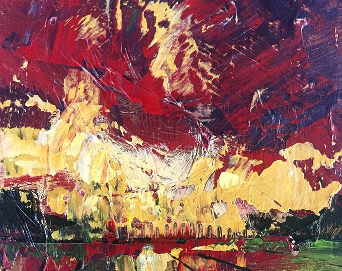 Red and Gold Sunset Affordable Miniature Painting 3x3 Abstract Landscape on Wood Panel Expressive Abstract Sky Textured
