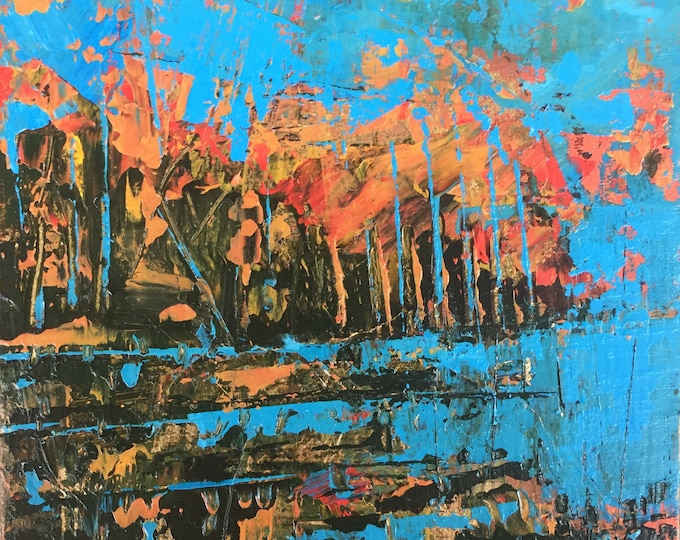 Turquoise and Orange Abstract Landscape Home Decor Wood Panel Miniature Art Acrylic Painting 3x3 Affordable Expressive Textured Painting