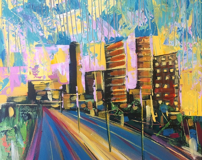 Pastel Abstract Expressionism City Scape Abstract Original Painting Acrylic Painting On Canvas 16x20 Modern Art Home Decor Textured Building