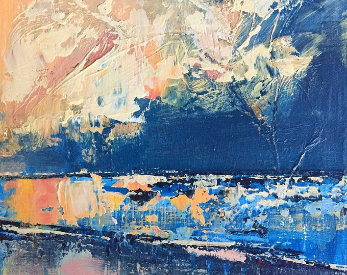 Blue and Orange Landscape Miniature Painting Acrylic Ocean Abstract 3x3 Affordable Art Small Painting Texture Modern Beach Art