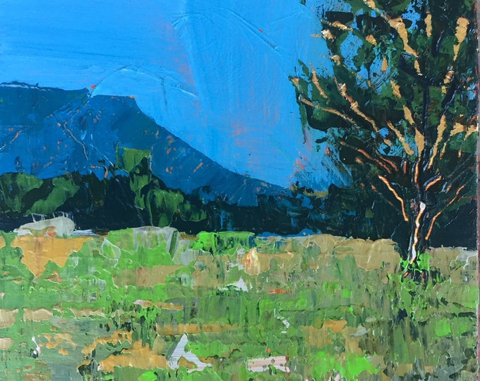 Contemporary Mountain Abstract Landscape Gold Leaf Tree Blue Mountain Lime Green Modern Miniature Painting Affordable 3x3 Painting