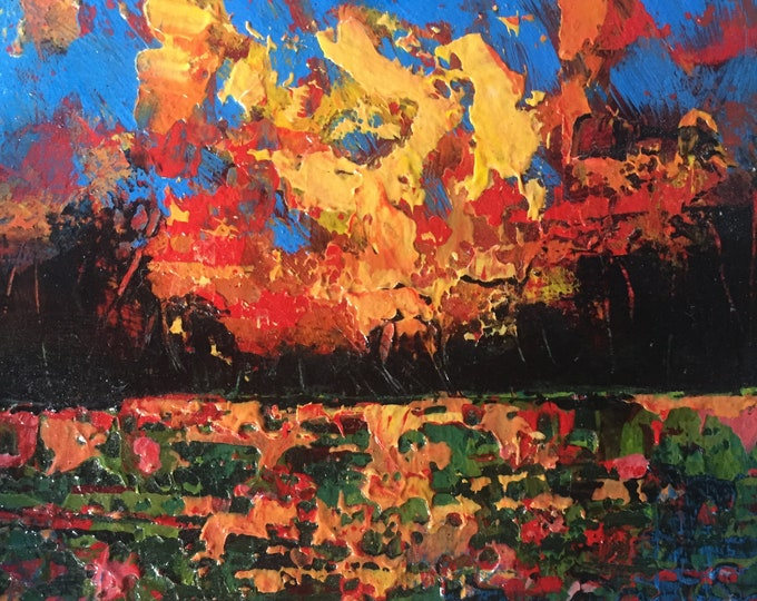 3x3 Abstract Landscape Small Paintings Red Orange Sky Textured Original Painting on Wood Fire Sunset Palette Knife Painting Square Modern