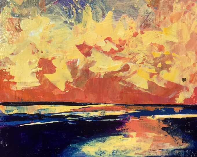 3x3 Beach Wall Art Miniature Painting Acrylic Coastal Sunset Abstract Beach Art Small Painting Yellow Orange Original Ocean Reflection