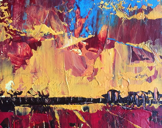Red and Orange Sunset Affordable Miniature Painting 3x3 Painting Miniature Abstract Landscape Home Decor Expressive Abstract Sky Textured