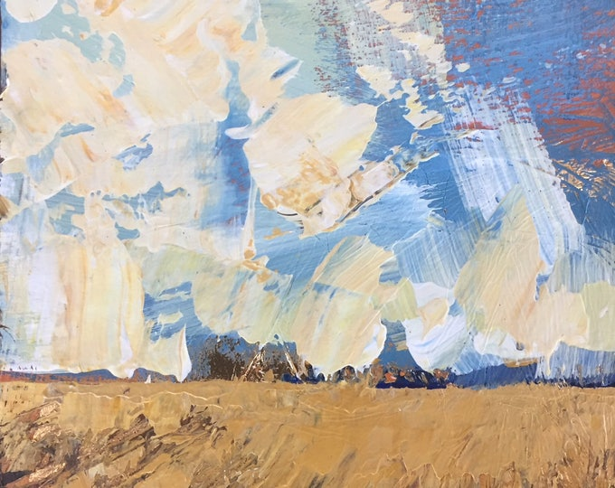 """3""""x 3"""" Abstract Landscape on Wood Panel 17"""