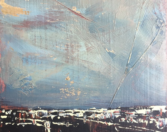 """3""""x 3"""" Abstract Landscape on Wood Panel 24"""