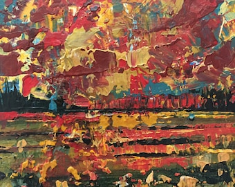 Burnt Orange and Red Sunset Affordable Miniature Painting 3x3 Abstract Landscape on Wood Panel Expressive Abstract Sky Textured Small Art