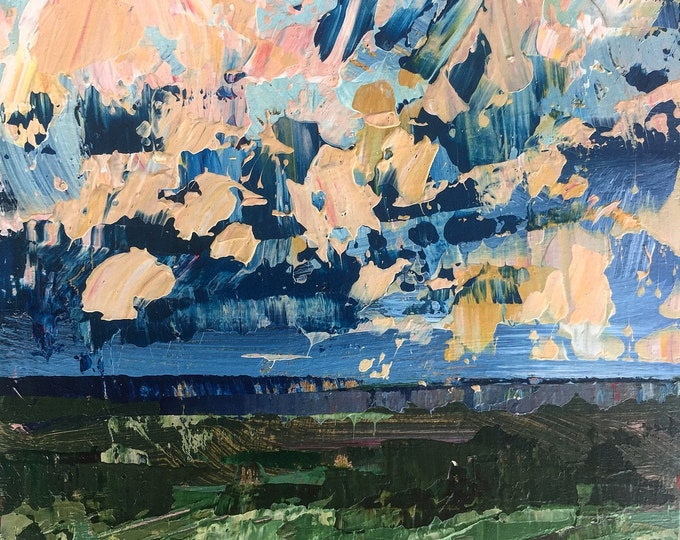 """3""""x 3"""" Abstract Landscape on Wood Panel 27"""
