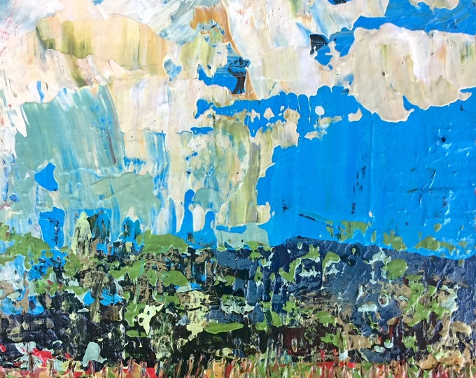 """3""""x 3"""" Abstract Landscape on Wood Panel 15"""