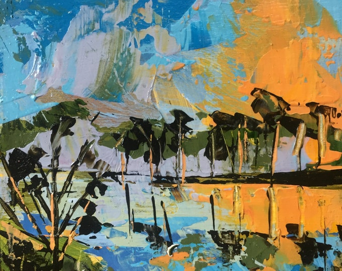 3x3 Landscape Painting on Wood Small Paintings Original Acrylic Abstract Landscape of a Lake Blue Yellow Orange Modern Tree Reflection