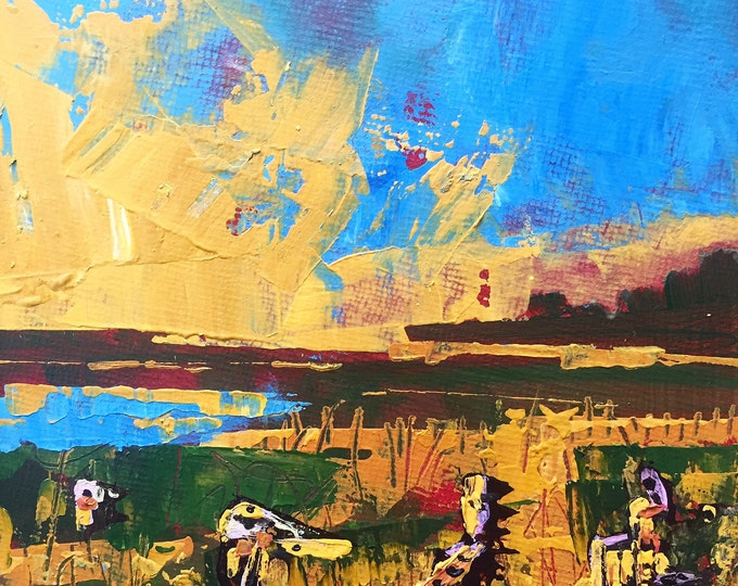 """5""""x 5"""" Abstract Landscape on Canvas Panel"""
