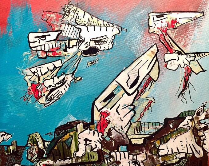 Pop Surrealism Weird Art Psychedelic Painting Pareidolia Trippy Art College Art Surreal Paint Ralph Steadman Whimsical Art Lowbrow art