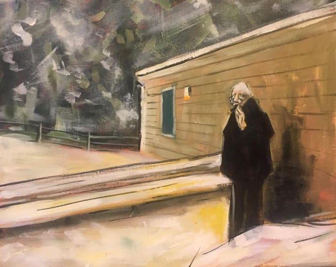 """Winter Smokers Land- 16"""" x 20"""" - Original Acrylic Painting"""