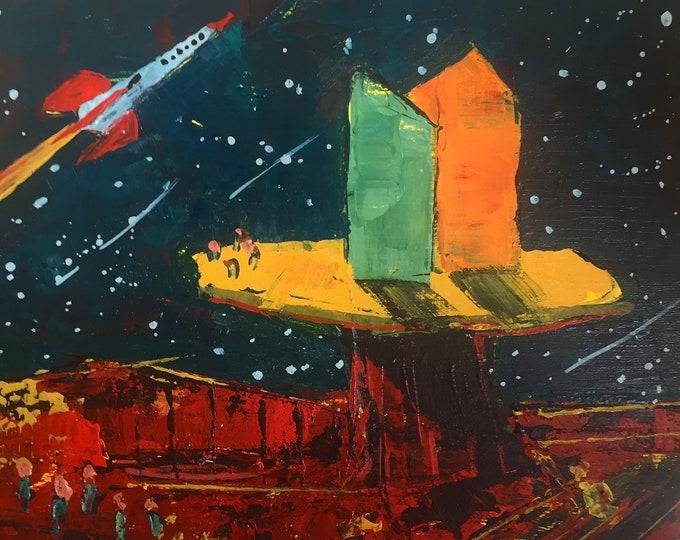 "5""x 5"" Sci-fi Lunarscape on Wood Panel 1"