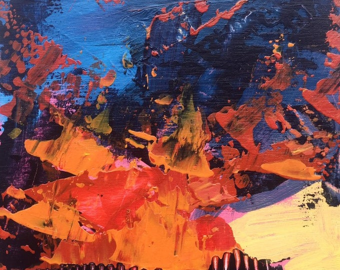 4x4 Painting Red Blue Yellow Abstract Landscape Sunset Abstract 4x4 Painting Original Art Miniature Painting Wood Small Abstract Landscape
