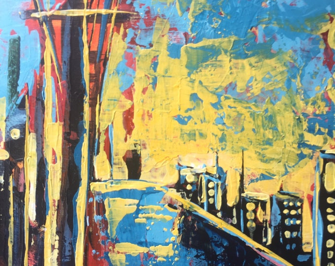 4x4 Original Painting Expressive Painting Blue Yellow Abstract Art Home Decor Small Painting Cityscape Small miniature painting on wood