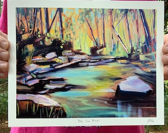 8x10 Eno River Oil Painting Archival Print Durham North Carolina abstract forest with stream, dominate colors green and brown