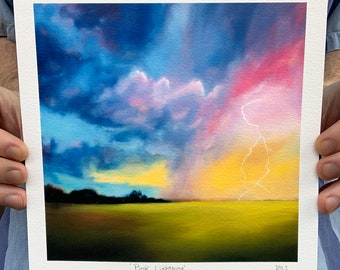 """8x8 """"Pink Lightning"""" Oil Painting Archival Print North Carolina Pink and Purple storm sunset painting signed"""