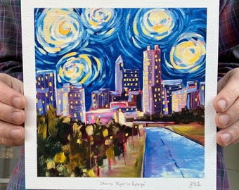 8x8 Starry Night In Raleigh Archival Print downtown Raleigh North Carolina skyline oil painting signed