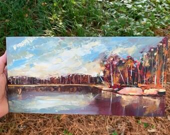 6x12 original oil painting with gold leaf of Falls Lake North Carolina panoramic shaped lake fall autumn decor