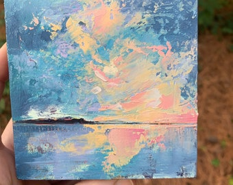 4x4 Original Oil Painting Abstract sunset  Painting colorful sunset with gold leaf North Carolina artist