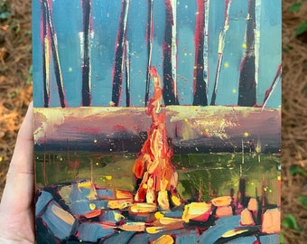 6x6 Campfire Original Oil painting on wood panel - oil and gold leaf magic forest night time textured painting