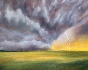 18 x 24 original oil painting on canvas of a lightning storm North Carolina based artist landscape dramatic stormy sky