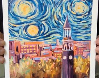 8x8 Starry Night In Chapel Hill Archival Print downtown UNC Clocktower skyline oil painting signed