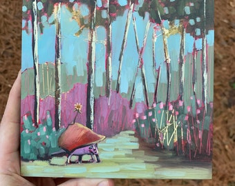 6x6 original oil painting magic fantasy forest with flower turtle weird creature with gold leaf