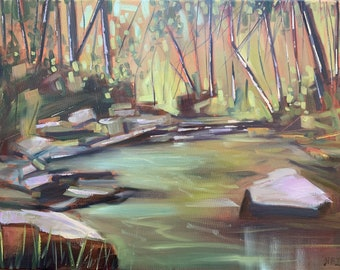 18 x 24 original oil painting on canvas of the Eno River from Durham North Carolina abstract forest green and brown