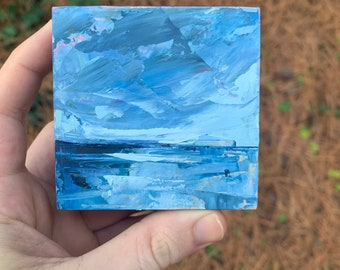3x3 Original oil painting of a ocean reflection - super thick texture North Carolina inspired landscape abstract