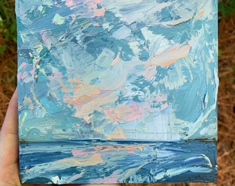 6x6 coastal abstract beach original oil painting on wood square expressive textured colorful painting