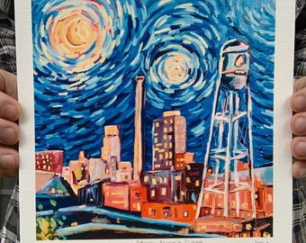 8x8 Starry Night In Durham Archival Print downtown Durham North Carolina skyline oil painting signed