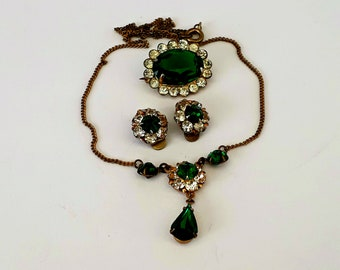 emerald green and clear rhinestone crystal parure, necklace, clip on earrings and brooch set,