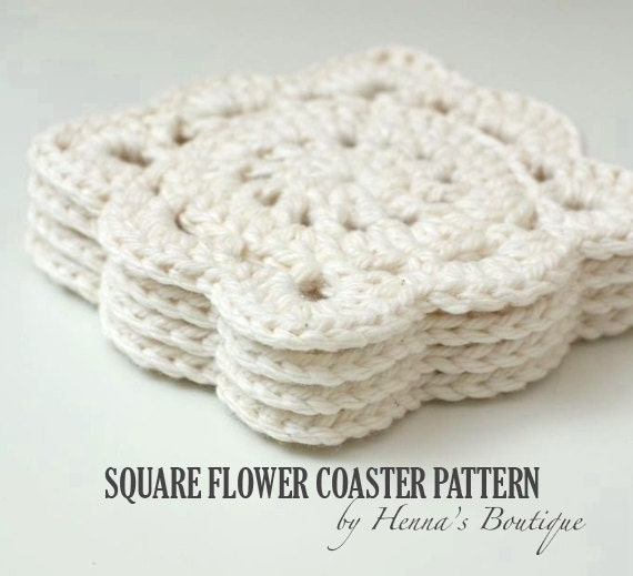 Crochet Coaster Pattern Square Flower Coasters Pdf Etsy