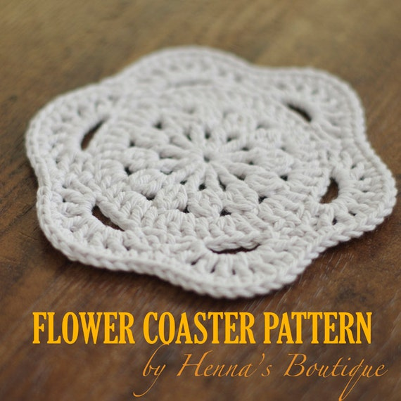 Crochet Coaster Pattern Flower Coaster PDF Etsy Stunning Crochet Coaster Pattern
