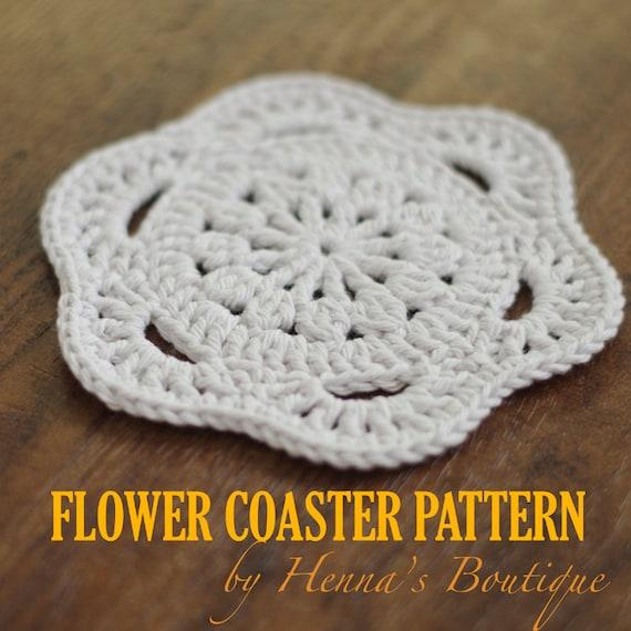 Crochet Coaster Pattern Flower Coaster PDF Etsy Enchanting Crochet Coaster Pattern