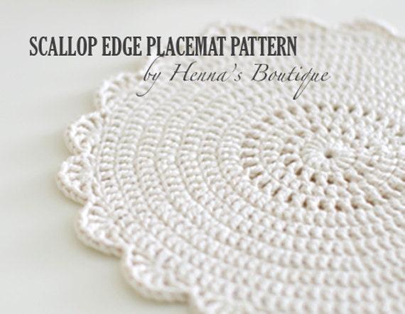 crochet placemat pattern scallop edge placemats pdf etsy