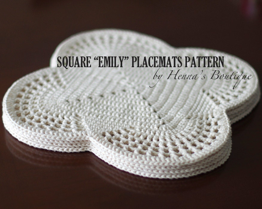 Crochet Placemat Pattern Square Emily Placemats Etsy