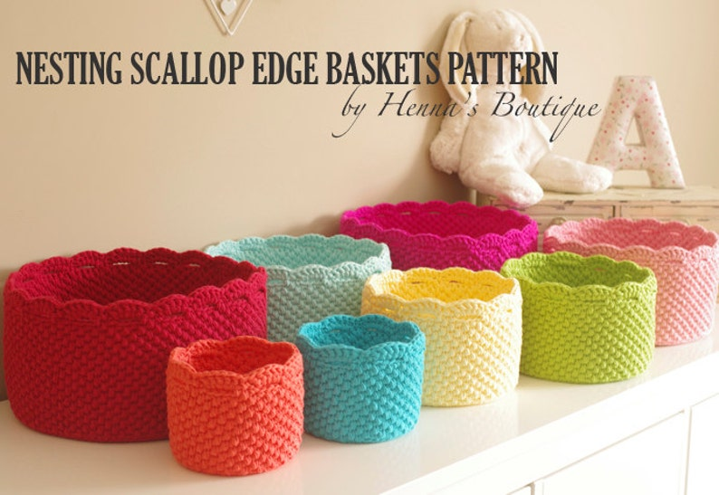 Crochet Basket Pattern  Nesting Scallop Edge Baskets  PDF image 0