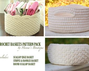 Crochet Basket Pattern Pack - Three Basket Patterns - PDF