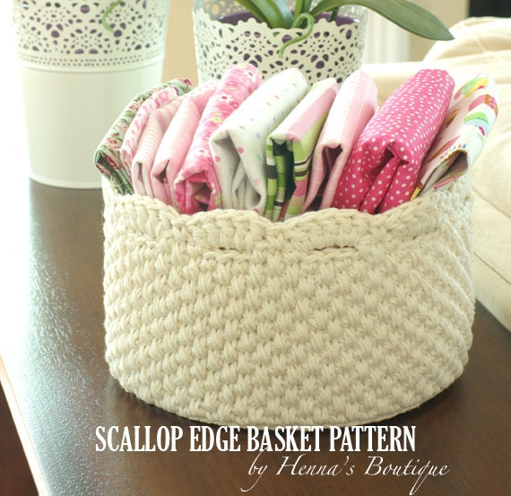 Crochet Basket Pattern Round Scallop Edge Basket Pdf Etsy