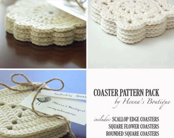 Crochet Pattern Pack - 3 Crochet Coasters - PDF